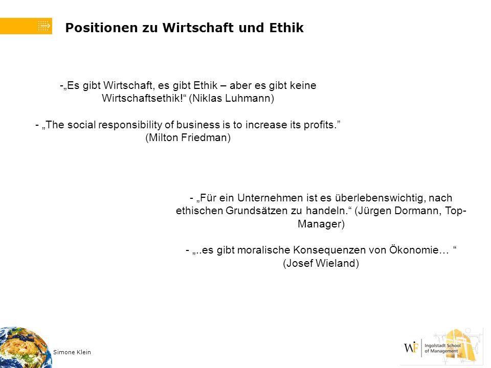 Simone Klein Positionen zu Wirtschaft und Ethik -Es gibt Wirtschaft, es gibt Ethik – aber es gibt keine Wirtschaftsethik! (Niklas Luhmann) - The socia