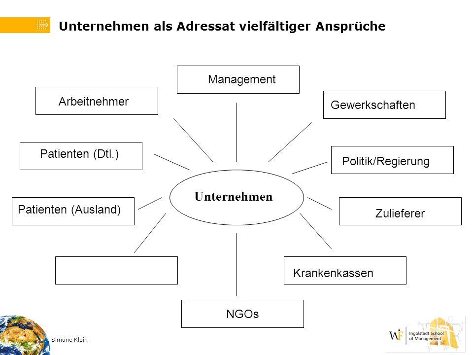 Simone Klein Unternehmen Arbeitnehmer Patienten (Dtl.) Gewerkschaften Politik/Regierung Zulieferer Management Unternehmen als Adressat vielfältiger An