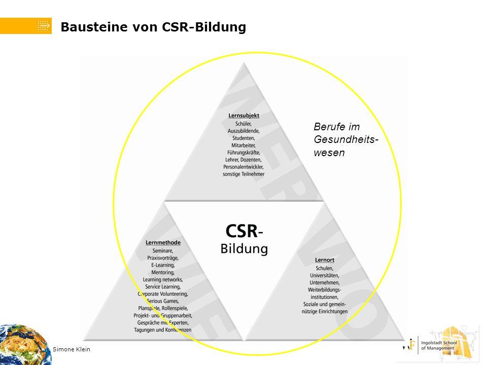 Simone Klein Bausteine von CSR-Bildung Berufe im Gesundheits- wesen