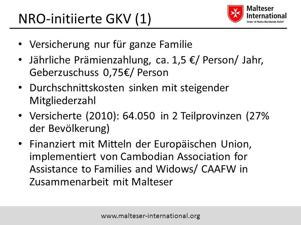 www.malteser-international.org NRO-initiierte GKV (1) Versicherung nur für ganze Familie Jährliche Prämienzahlung, ca. 1,5 / Person/ Jahr, Geberzuschu