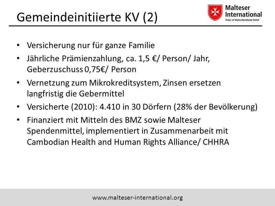 www.malteser-international.org Gemeindeinitiierte KV (2) Versicherung nur für ganze Familie Jährliche Prämienzahlung, ca. 1,5 / Person/ Jahr, Geberzus