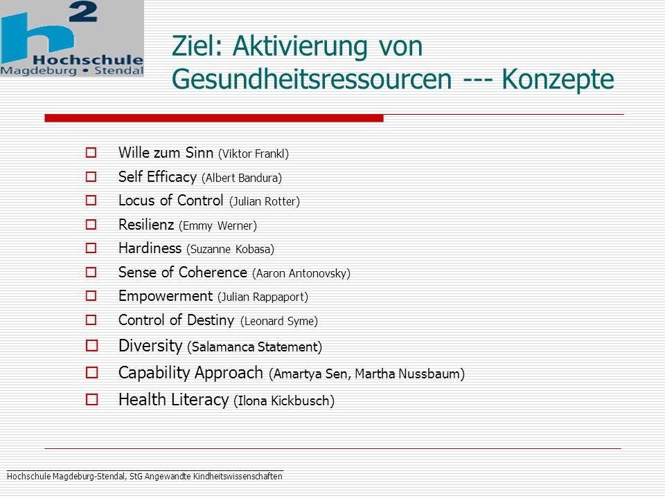 _____________________________________________________________ Hochschule Magdeburg-Stendal, StG Angewandte Kindheitswissenschaften Ziel: Aktivierung v