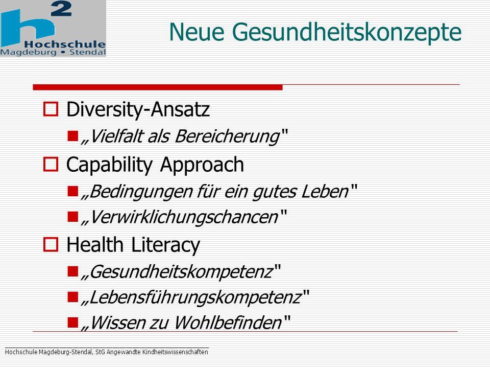 _____________________________________________________________ Hochschule Magdeburg-Stendal, StG Angewandte Kindheitswissenschaften Neue Gesundheitskon