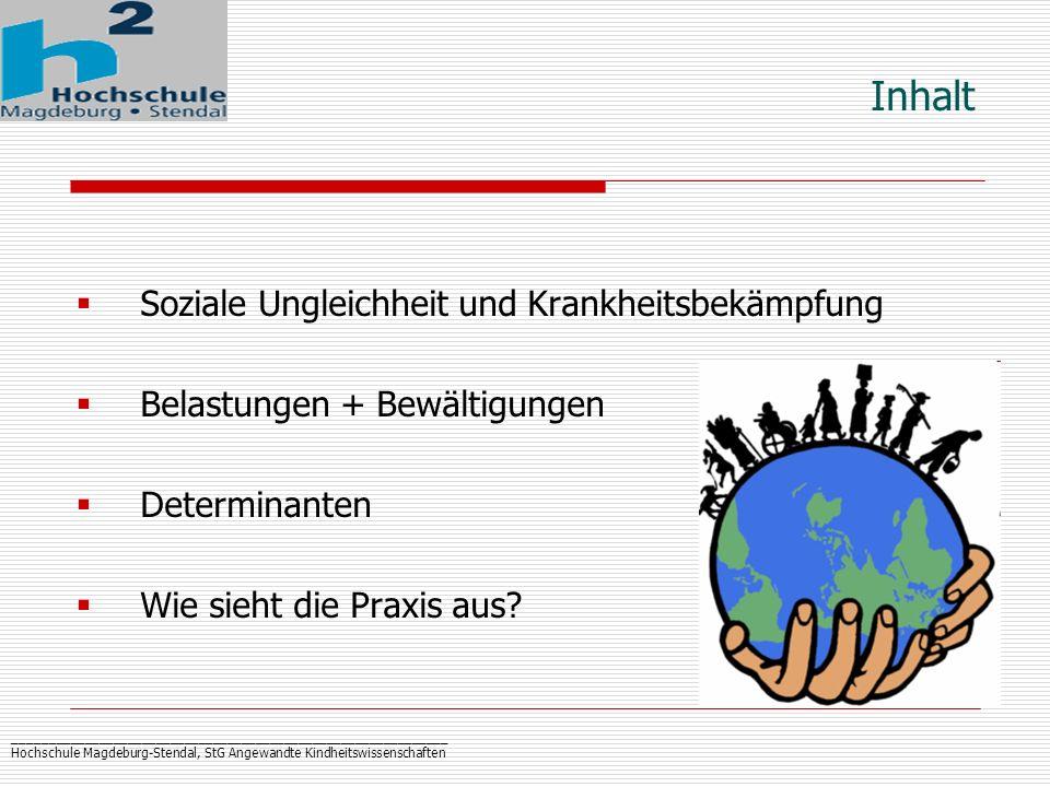 _____________________________________________________________ Hochschule Magdeburg-Stendal, StG Angewandte Kindheitswissenschaften Aktuelle Darstellung: Soziale Ungleichheit und Gesundheit (Mielck 2005) Daten: sozio-ökonomisches Panel (1984-97) Gesundheitliche Ungleichheit: Lebenserwartung nach Einkommensvierteln