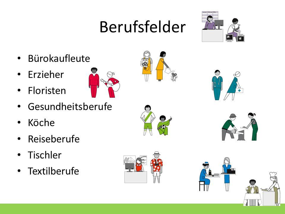 Berufsfelder Bürokaufleute Erzieher Floristen Gesundheitsberufe Köche Reiseberufe Tischler Textilberufe