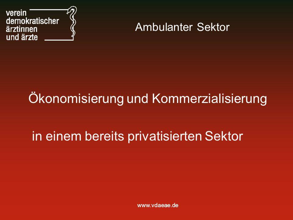 www.vdaeae.de Ambulanter Sektor Ökonomisierung und Kommerzialisierung in einem bereits privatisierten Sektor