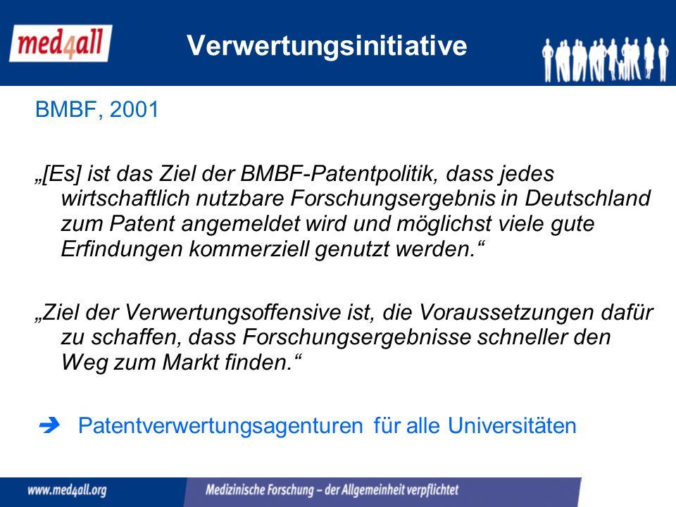 BMBF, 2001 [Es] ist das Ziel der BMBF-Patentpolitik, dass jedes wirtschaftlich nutzbare Forschungsergebnis in Deutschland zum Patent angemeldet wird und möglichst viele gute Erfindungen kommerziell genutzt werden.