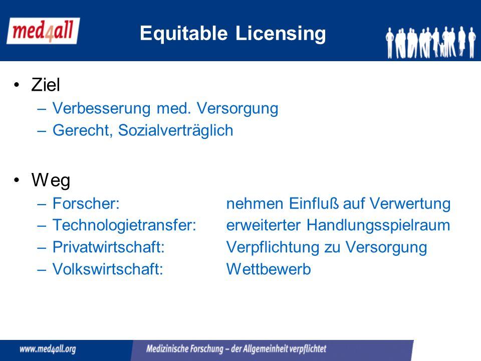 Equitable Licensing Ziel –Verbesserung med.