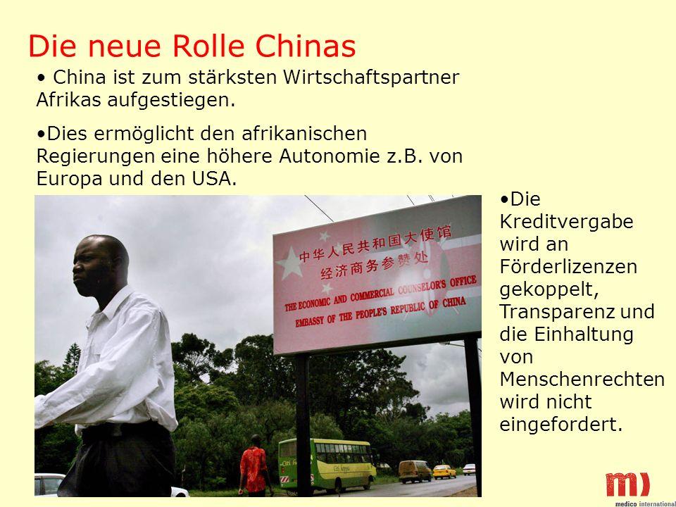Die neue Rolle Chinas China ist zum stärksten Wirtschaftspartner Afrikas aufgestiegen. Dies ermöglicht den afrikanischen Regierungen eine höhere Auton