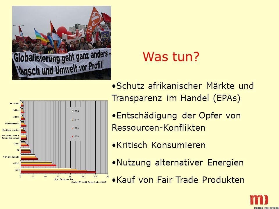 Schutz afrikanischer Märkte und Transparenz im Handel (EPAs) Entschädigung der Opfer von Ressourcen-Konflikten Kritisch Konsumieren Nutzung alternativer Energien Kauf von Fair Trade Produkten