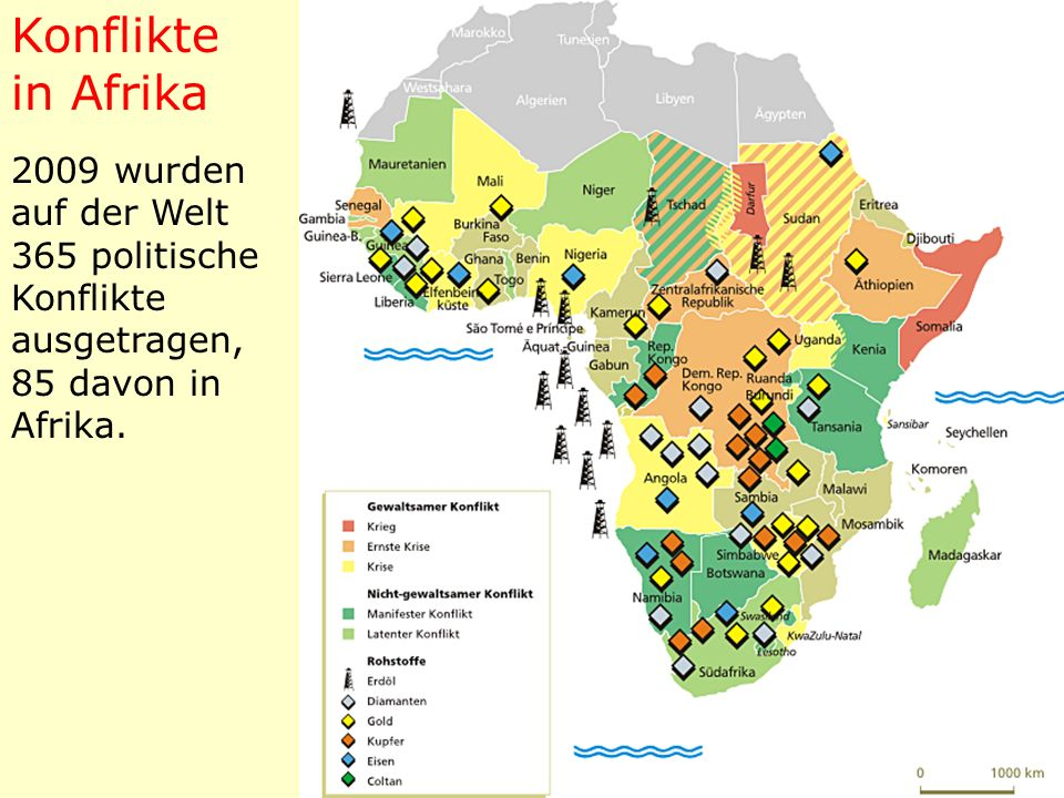 2009 wurden auf der Welt 365 politische Konflikte ausgetragen, 85 davon in Afrika. Konflikte in Afrika
