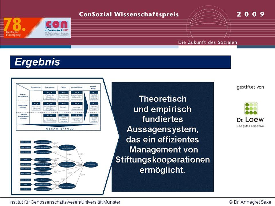 Institut für Genossenschaftswesen/Universität Münster© Dr. Annegret Saxe Ergebnis