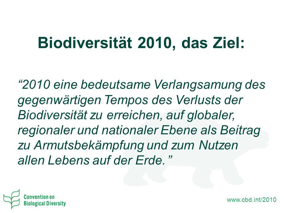 www.cbd.int/2010 Biodiversität 2010, das Ziel: 2010 eine bedeutsame Verlangsamung des gegenwärtigen Tempos des Verlusts der Biodiversität zu erreichen, auf globaler, regionaler und nationaler Ebene als Beitrag zu Armutsbekämpfung und zum Nutzen allen Lebens auf der Erde.