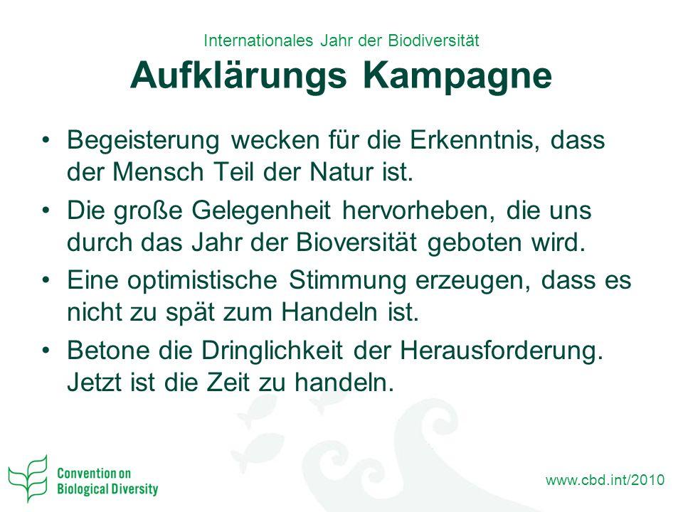 www.cbd.int/2010 Internationales Jahr der Biodiversität Aufklärungs Kampagne Begeisterung wecken für die Erkenntnis, dass der Mensch Teil der Natur ist.