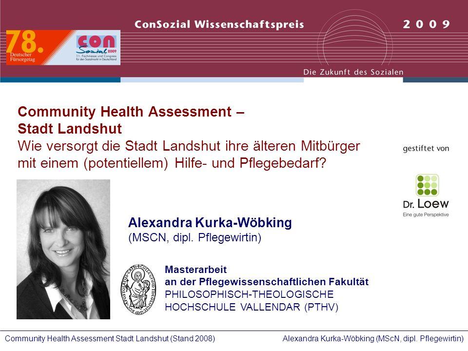 Alexandra Kurka-Wöbking (MScN, dipl. Pflegewirtin)Community Health Assessment Stadt Landshut (Stand 2008) Community Health Assessment – Stadt Landshut