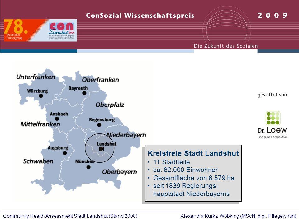 Alexandra Kurka-Wöbking (MScN, dipl. Pflegewirtin)Community Health Assessment Stadt Landshut (Stand 2008) Kreisfreie Stadt Landshut 11 Stadtteile ca.
