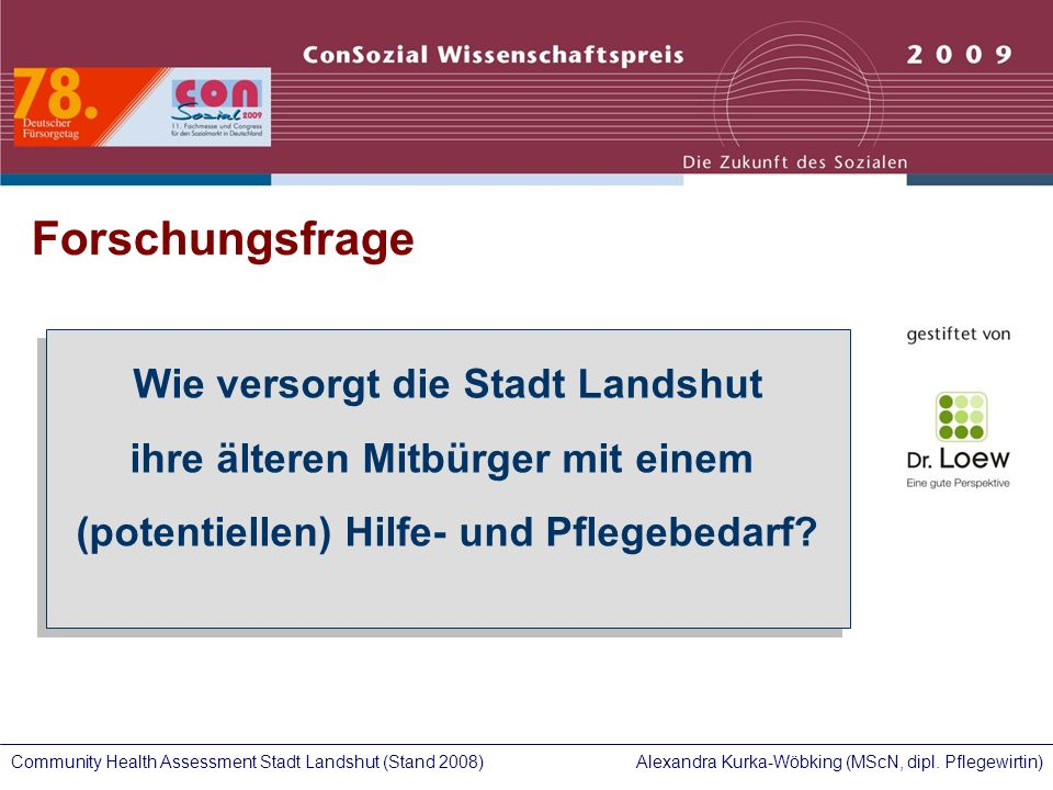 Alexandra Kurka-Wöbking (MScN, dipl. Pflegewirtin)Community Health Assessment Stadt Landshut (Stand 2008) Wie versorgt die Stadt Landshut ihre älteren