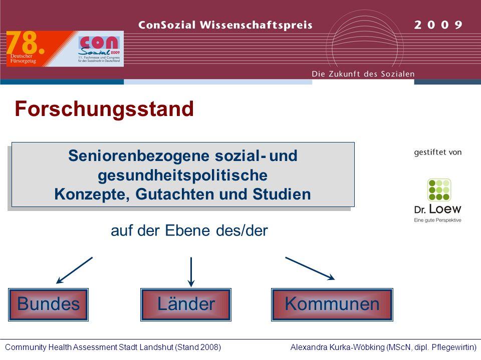 Alexandra Kurka-Wöbking (MScN, dipl. Pflegewirtin)Community Health Assessment Stadt Landshut (Stand 2008) Forschungsstand Seniorenbezogene sozial- und