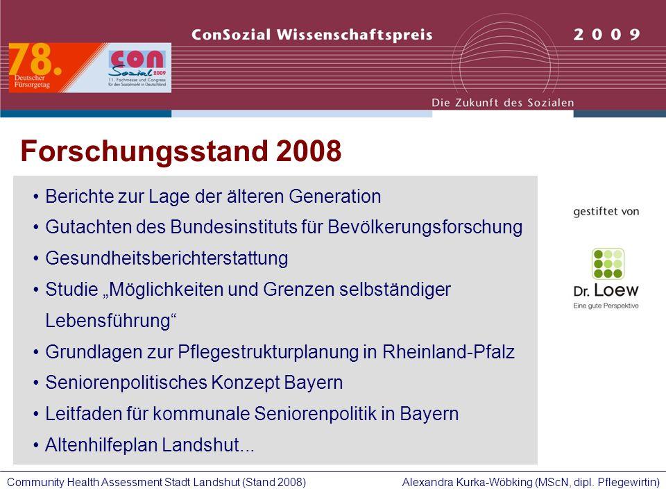 Alexandra Kurka-Wöbking (MScN, dipl. Pflegewirtin)Community Health Assessment Stadt Landshut (Stand 2008) Forschungsstand 2008 Berichte zur Lage der ä