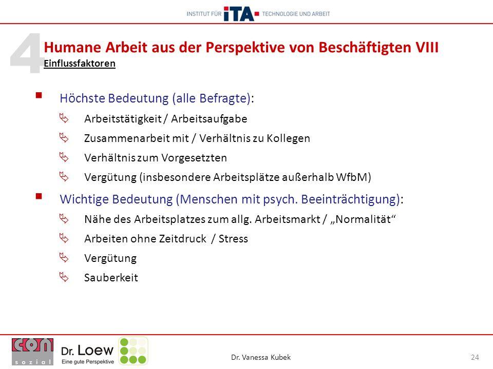 Dr. Vanessa Kubek 24 4 Höchste Bedeutung (alle Befragte): Arbeitstätigkeit / Arbeitsaufgabe Zusammenarbeit mit / Verhältnis zu Kollegen Verhältnis zum