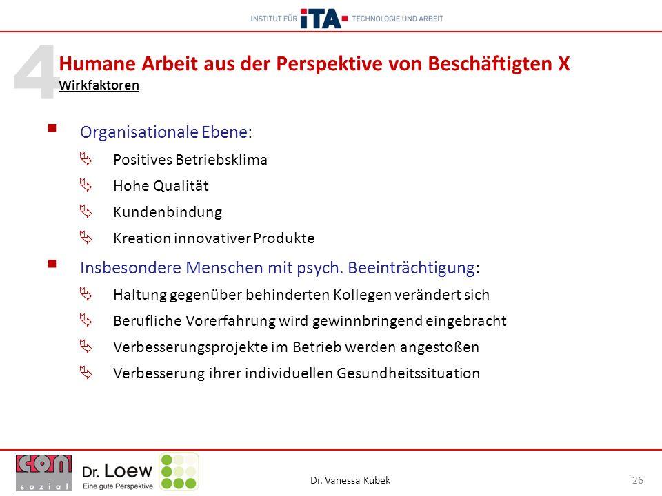 Dr. Vanessa Kubek 26 4 Organisationale Ebene: Positives Betriebsklima Hohe Qualität Kundenbindung Kreation innovativer Produkte Insbesondere Menschen