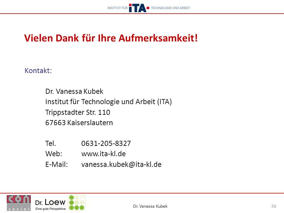 Dr. Vanessa Kubek 34 Vielen Dank für Ihre Aufmerksamkeit! Kontakt: Dr. Vanessa Kubek Institut für Technologie und Arbeit (ITA) Trippstadter Str. 110 6