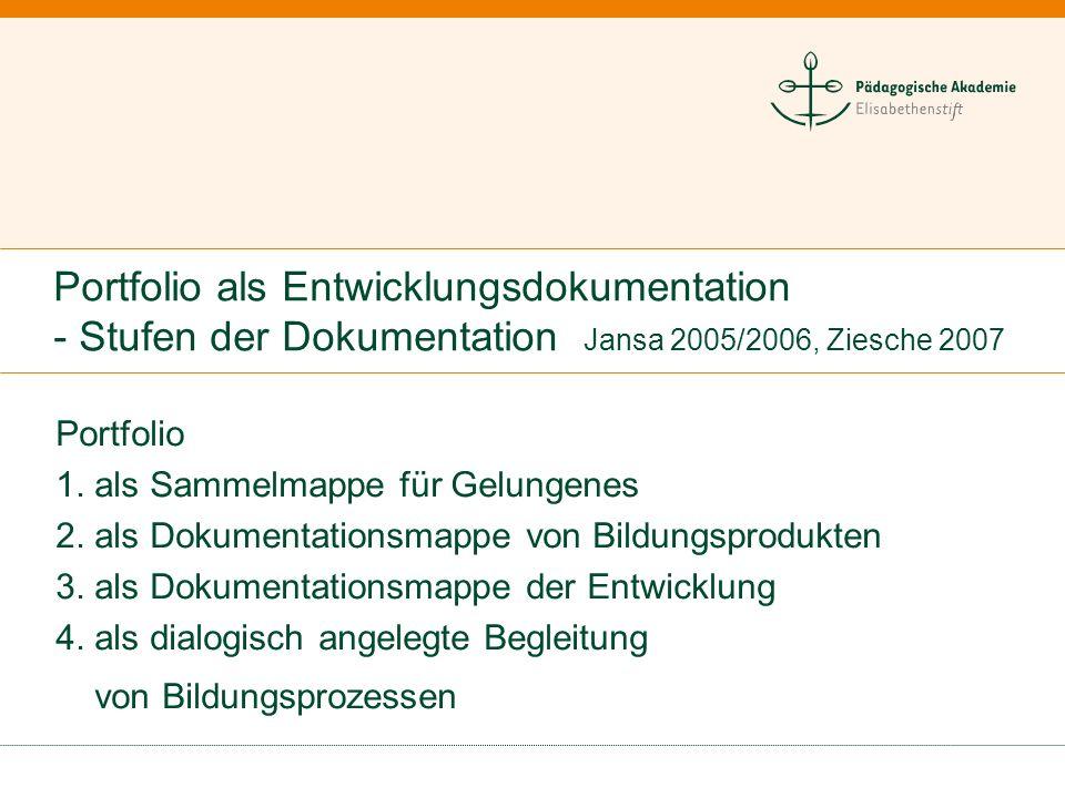 Portfolio als Entwicklungsdokumentation - Stufen der Dokumentation Jansa 2005/2006, Ziesche 2007 Portfolio 1. als Sammelmappe für Gelungenes 2. als Do