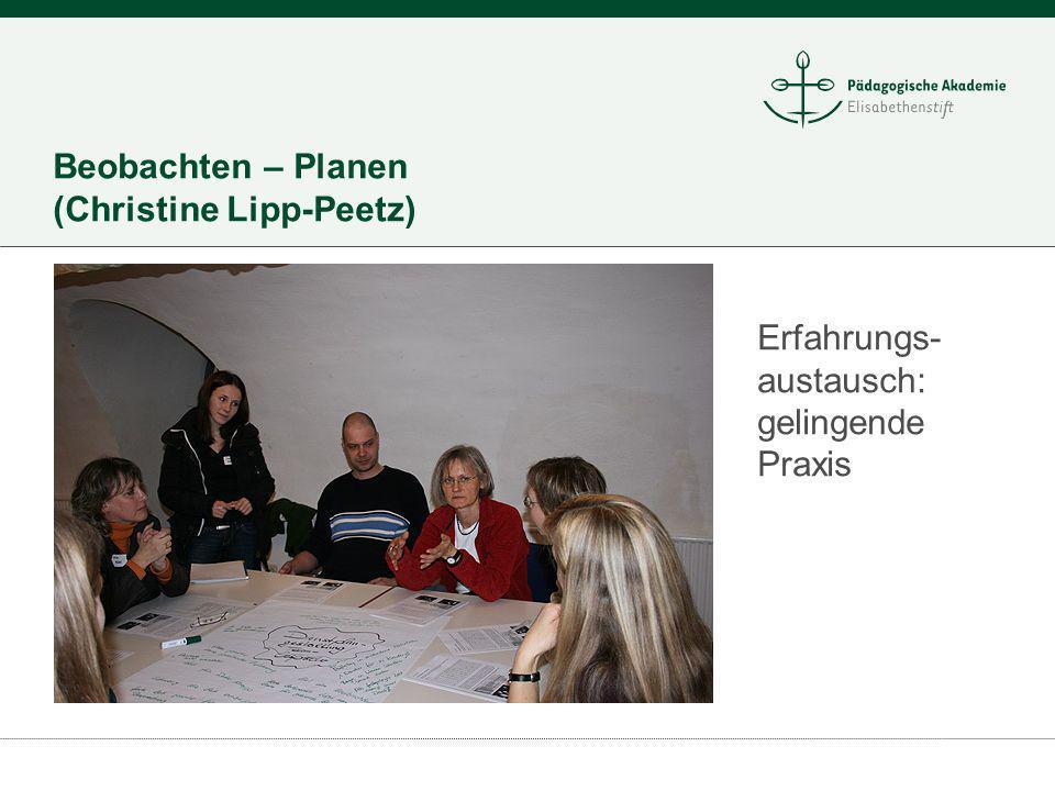 Beobachten – Planen (Christine Lipp-Peetz) Erfahrungs- austausch: gelingende Praxis