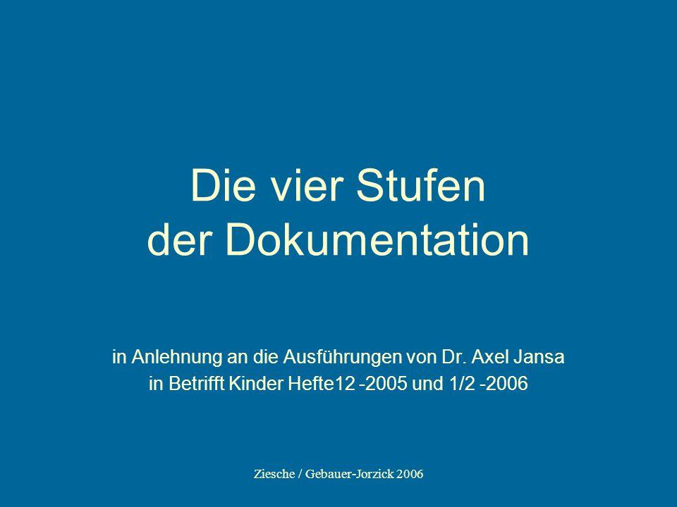 Ziesche / Gebauer-Jorzick 2006 Die vier Stufen der Dokumentation in Anlehnung an die Ausführungen von Dr. Axel Jansa in Betrifft Kinder Hefte12 -2005