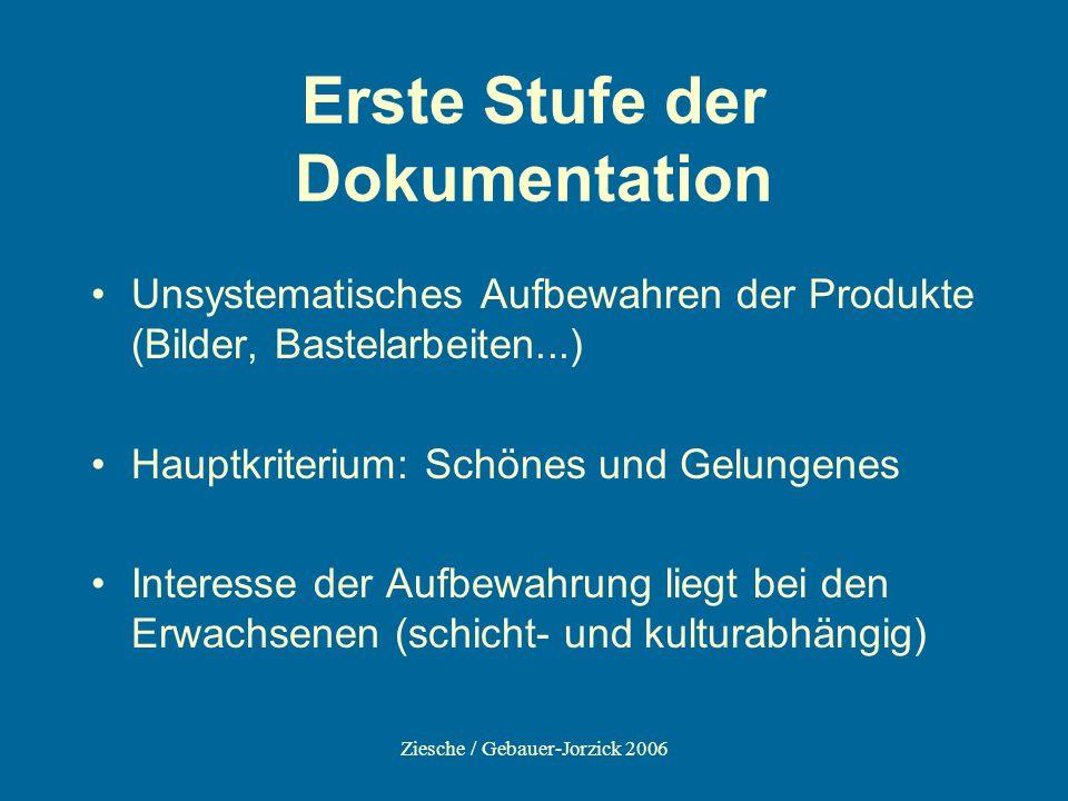 Ziesche / Gebauer-Jorzick 2006 Erste Stufe der Dokumentation Unsystematisches Aufbewahren der Produkte (Bilder, Bastelarbeiten...) Hauptkriterium: Sch