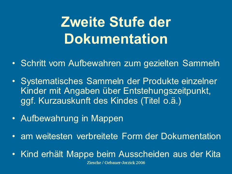 Ziesche / Gebauer-Jorzick 2006 Zweite Stufe der Dokumentation Schritt vom Aufbewahren zum gezielten Sammeln Systematisches Sammeln der Produkte einzel