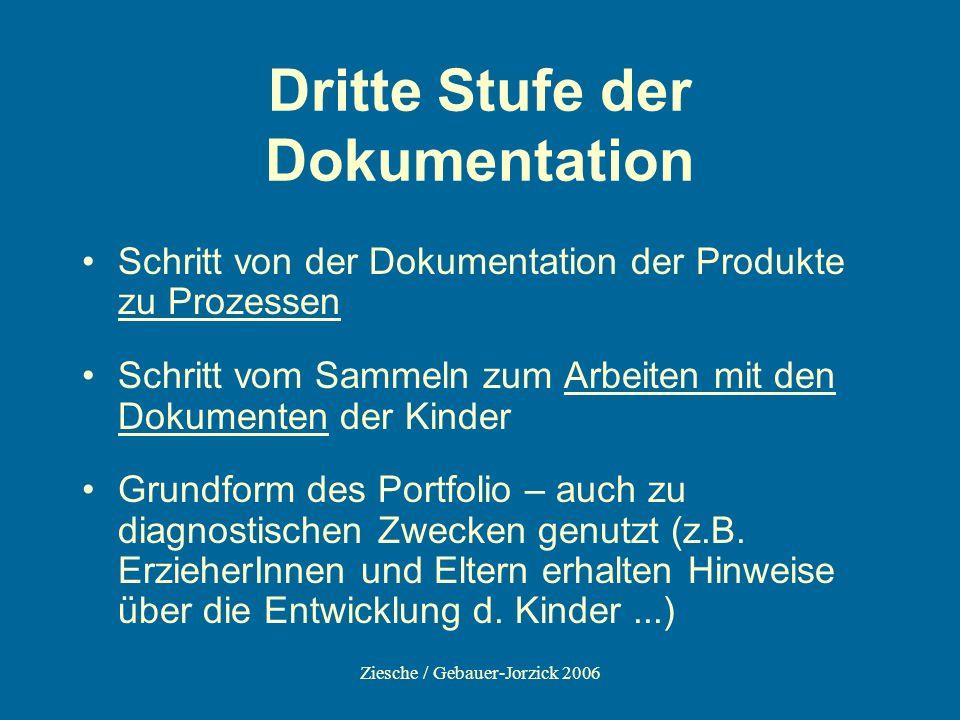 Ziesche / Gebauer-Jorzick 2006 Dritte Stufe der Dokumentation Schritt von der Dokumentation der Produkte zu Prozessen Schritt vom Sammeln zum Arbeiten