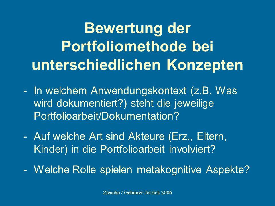 Ziesche / Gebauer-Jorzick 2006 Bewertung der Portfoliomethode bei unterschiedlichen Konzepten -In welchem Anwendungskontext (z.B. Was wird dokumentier