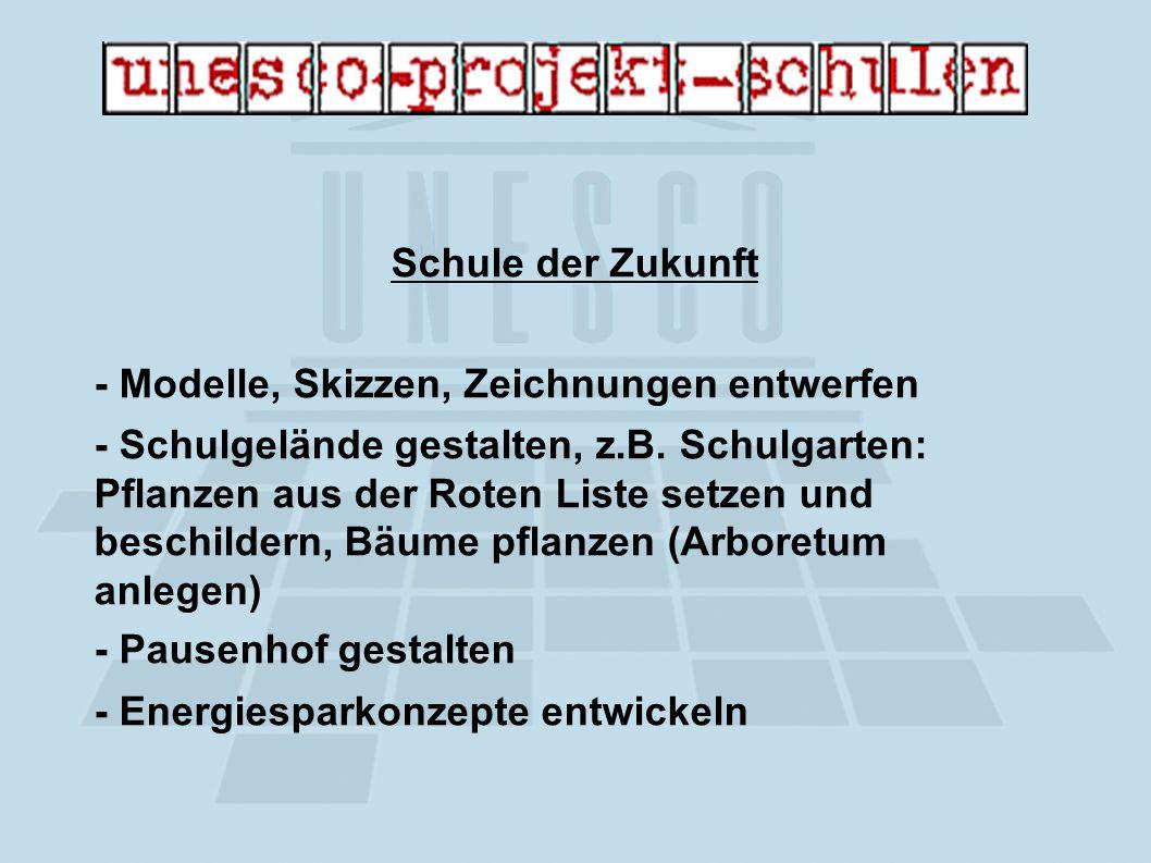 Schule der Zukunft - Modelle, Skizzen, Zeichnungen entwerfen - Schulgelände gestalten, z.B.