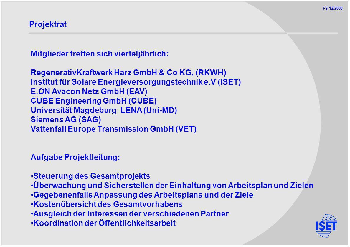 FS 12/2008 Projektrat Mitglieder treffen sich vierteljährlich: RegenerativKraftwerk Harz GmbH & Co KG, (RKWH) Institut für Solare Energieversorgungstechnik e.V (ISET) E.ON Avacon Netz GmbH (EAV) CUBE Engineering GmbH (CUBE) Universität Magdeburg LENA (Uni-MD) Siemens AG (SAG) Vattenfall Europe Transmission GmbH (VET) Aufgabe Projektleitung: Steuerung des Gesamtprojekts Überwachung und Sicherstellen der Einhaltung von Arbeitsplan und Zielen Gegebenenfalls Anpassung des Arbeitsplans und der Ziele Kostenübersicht des Gesamtvorhabens Ausgleich der Interessen der verschiedenen Partner Koordination der Öffentlichkeitsarbeit