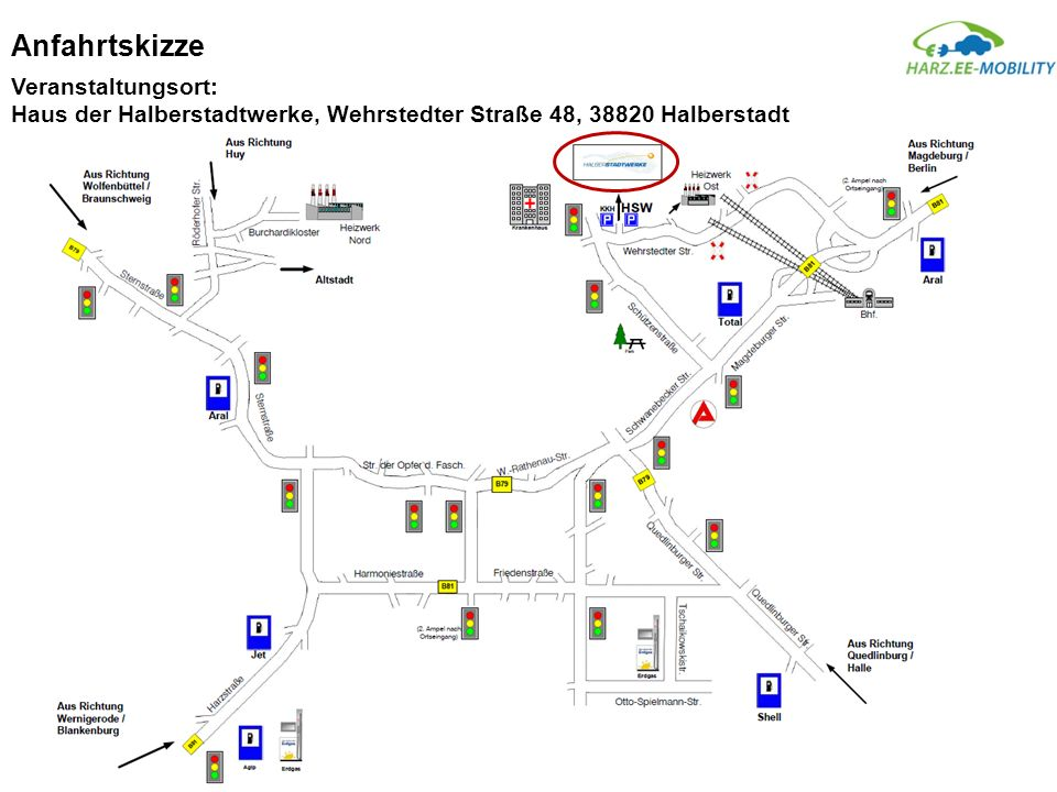 Anfahrtskizze Veranstaltungsort: Haus der Halberstadtwerke, Wehrstedter Straße 48, 38820 Halberstadt