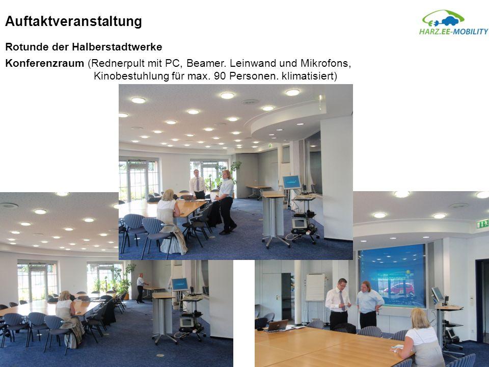 Auftaktveranstaltung Rotunde der Halberstadtwerke Konferenzraum (Rednerpult mit PC, Beamer. Leinwand und Mikrofons, Kinobestuhlung für max. 90 Persone