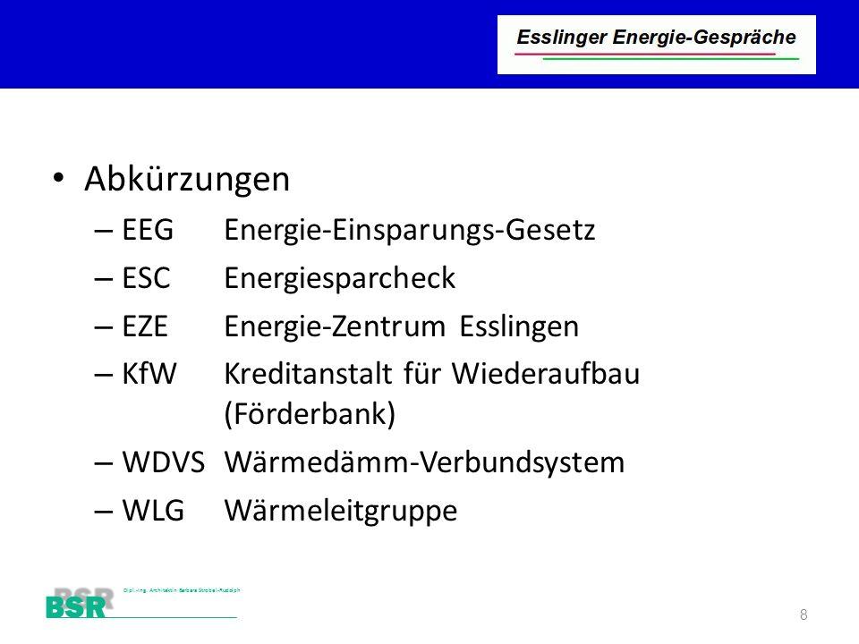 Stutensee-Bad BSR Dipl.-Ing. Architektin Barbara Strobel-Rudolph Abkürzungen – EEGEnergie-Einsparungs-Gesetz – ESCEnergiesparcheck – EZEEnergie-Zentru