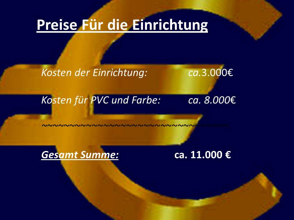 Kosten der Einrichtung: ca.3.000 Kosten für PVC und Farbe: ca.