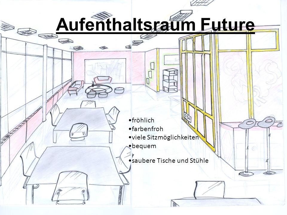 Aufenthaltsraum Future fröhlich farbenfroh viele Sitzmöglichkeiten bequem saubere Tische und Stühle