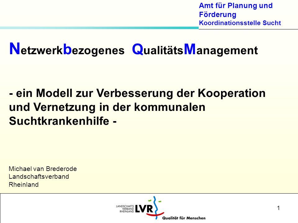 Amt für Planung und Förderung Koordinationsstelle Sucht 1 N etzwerk b ezogenes Q ualitäts M anagement - ein Modell zur Verbesserung der Kooperation un