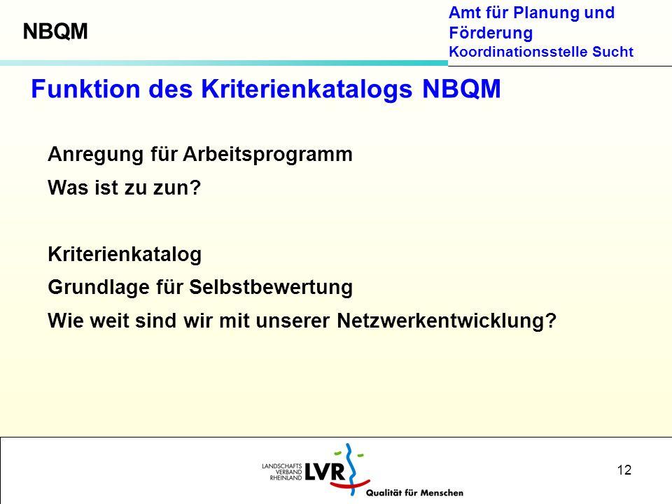 Amt für Planung und Förderung Koordinationsstelle Sucht 12 Anregung für Arbeitsprogramm Was ist zu zun? Kriterienkatalog Grundlage für Selbstbewertung