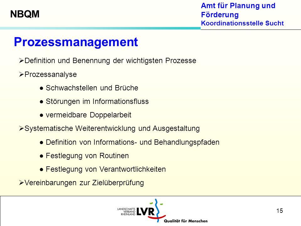 Amt für Planung und Förderung Koordinationsstelle Sucht 15 Prozessmanagement Definition und Benennung der wichtigsten Prozesse Prozessanalyse Schwachs