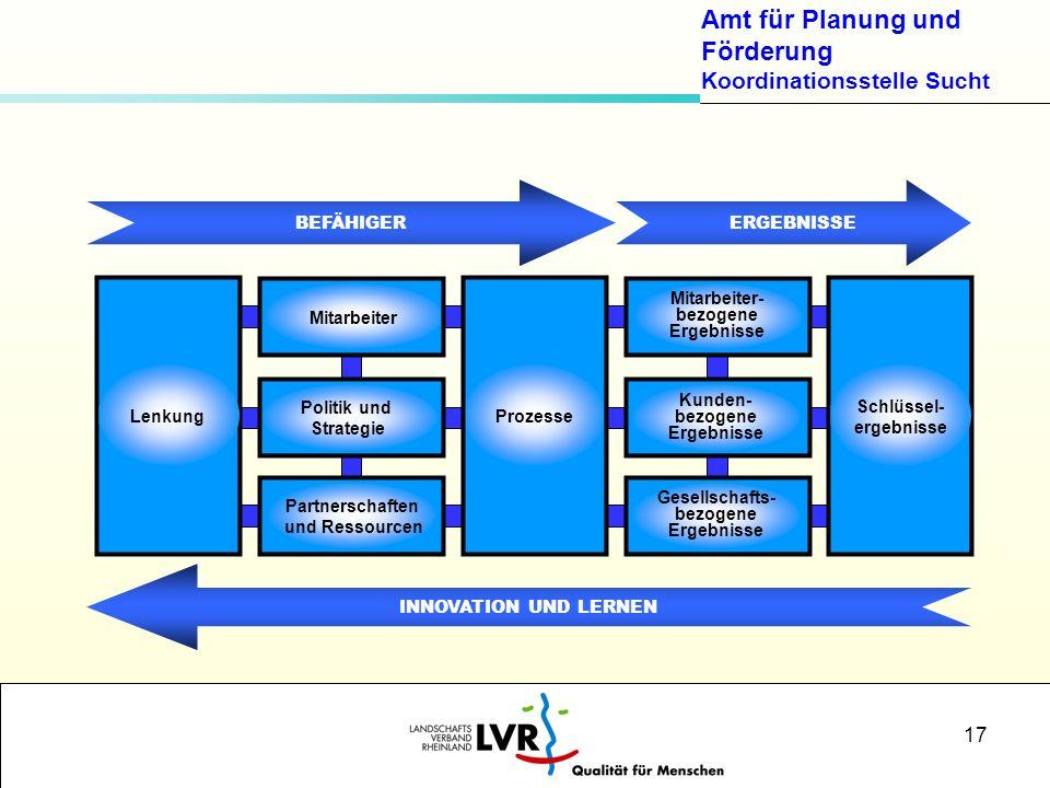 Amt für Planung und Förderung Koordinationsstelle Sucht 17 BEFÄHIGERERGEBNISSE INNOVATION UND LERNEN Mitarbeiter Politik und Strategie Partnerschaften