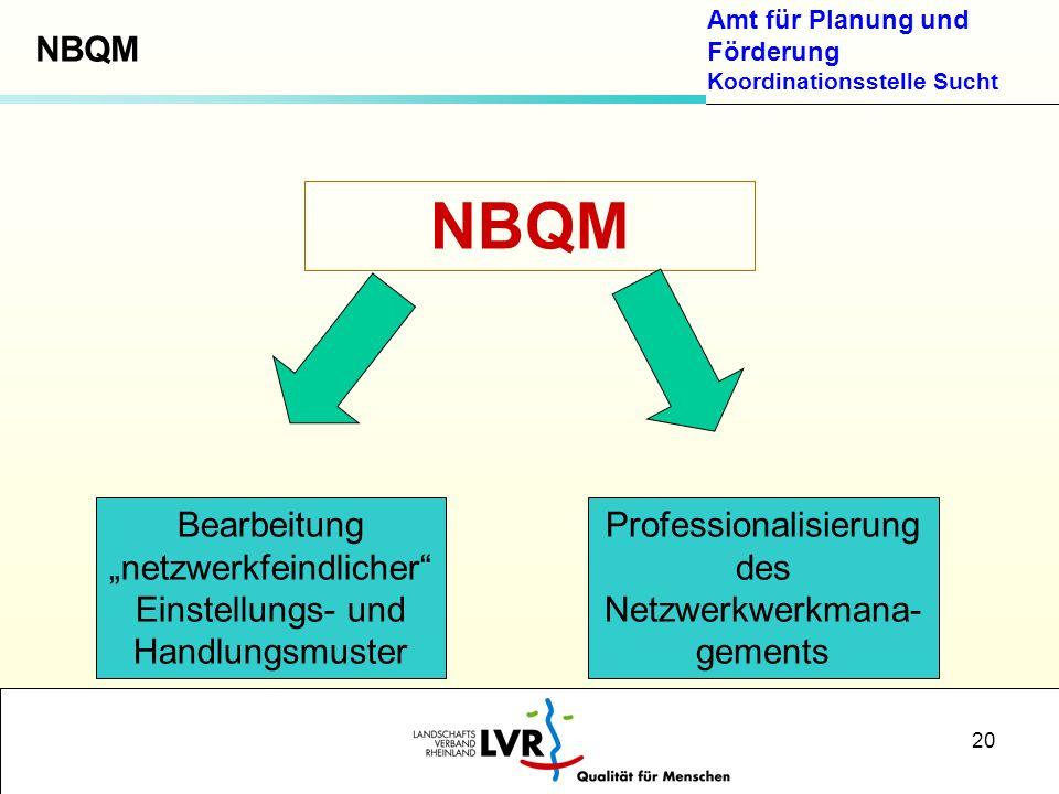 Amt für Planung und Förderung Koordinationsstelle Sucht 20 NBQM Bearbeitung netzwerkfeindlicher Einstellungs- und Handlungsmuster Professionalisierung