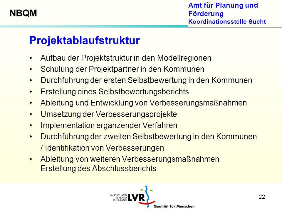 Amt für Planung und Förderung Koordinationsstelle Sucht 22 Projektablaufstruktur Aufbau der Projektstruktur in den Modellregionen Schulung der Projekt