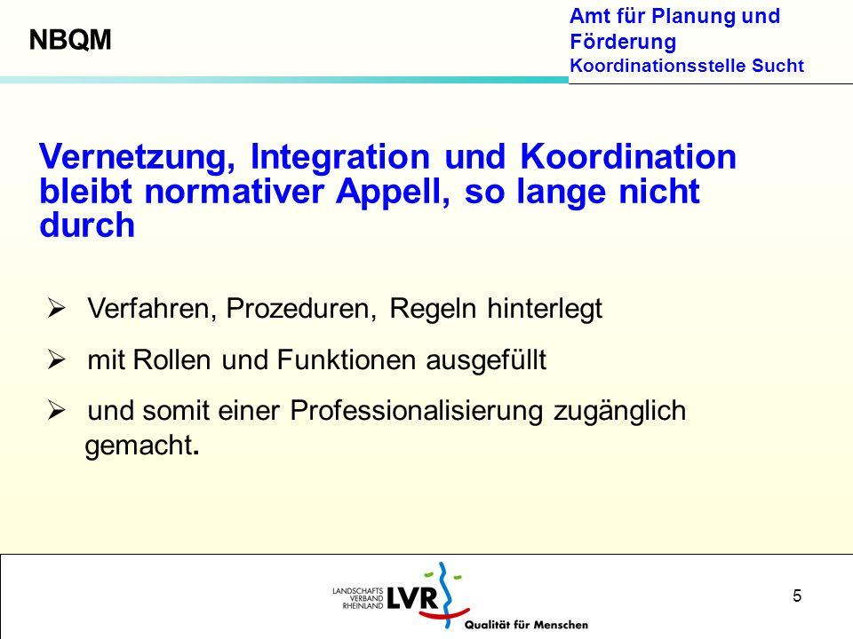 Amt für Planung und Förderung Koordinationsstelle Sucht 5 Verfahren, Prozeduren, Regeln hinterlegt mit Rollen und Funktionen ausgefüllt und somit eine