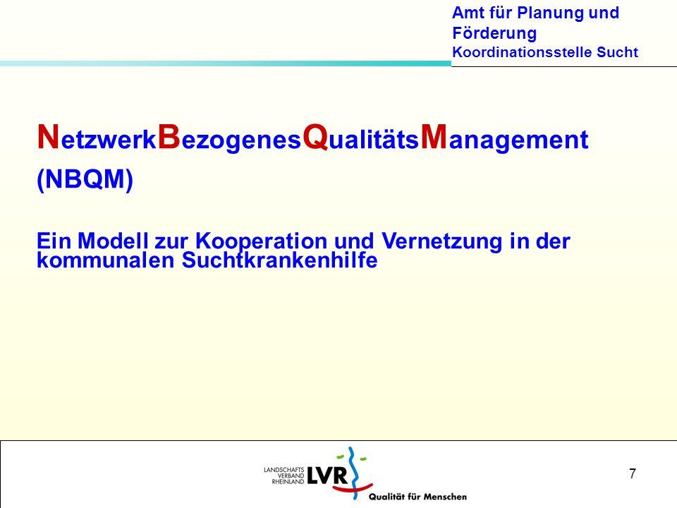 Amt für Planung und Förderung Koordinationsstelle Sucht 7 N etzwerk B ezogenes Q ualitäts M anagement (NBQM) Ein Modell zur Kooperation und Vernetzung