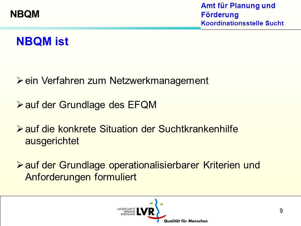 Amt für Planung und Förderung Koordinationsstelle Sucht 9 NBQM ist ein Verfahren zum Netzwerkmanagement auf der Grundlage des EFQM auf die konkrete Si