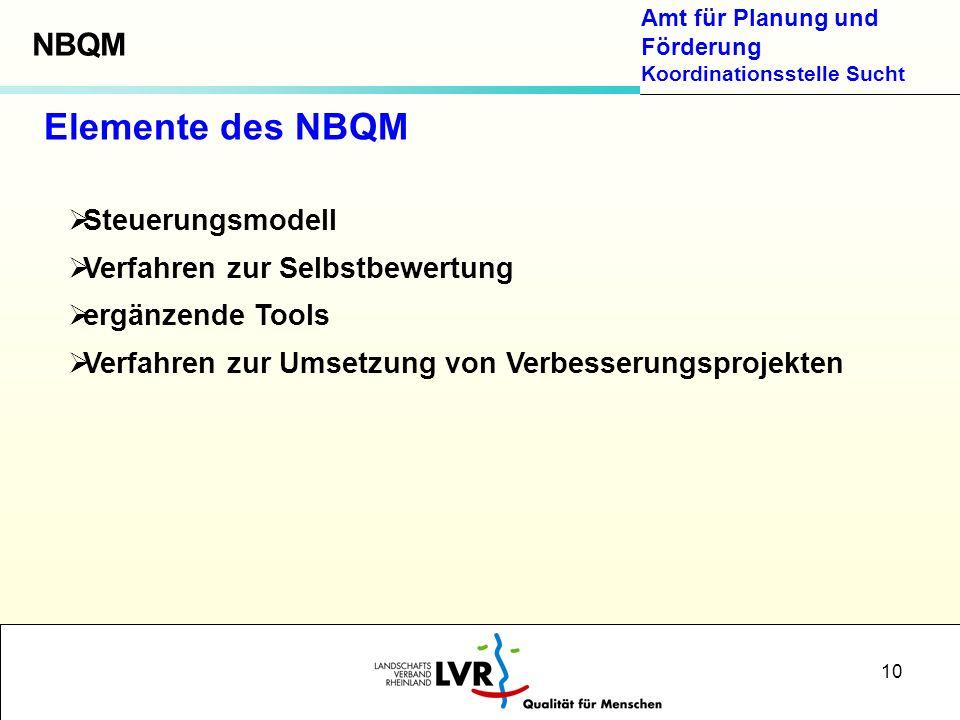 Amt für Planung und Förderung Koordinationsstelle Sucht 10 Steuerungsmodell Verfahren zur Selbstbewertung ergänzende Tools Verfahren zur Umsetzung von Verbesserungsprojekten Elemente des NBQM NBQM